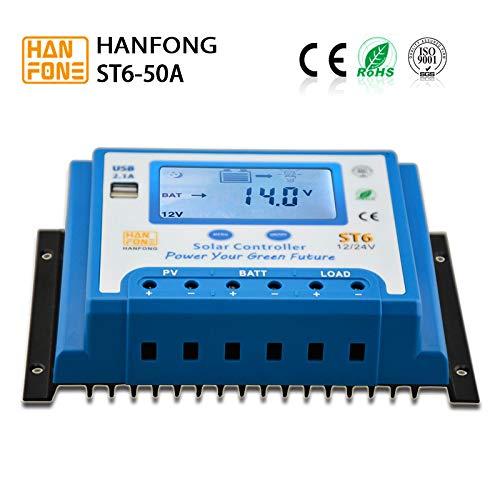 Fuhuihe Solar-Controller 12 V/24 V, automatische Umschaltung PWM, Solarmodul-Ladegerät, Regler Multi Circuit Protection Off Grid System -