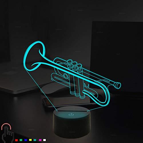 3D saxphone trompete Nachtlampe 7 Farben ändern Touch Control LED Schreibtisch Tisch Nachtlicht mit bunten USB Powered für Kinder Kinder Familie Ferienhaus Dekoration Valentinstag Geschenk