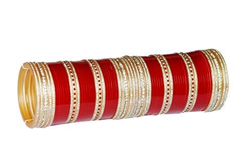 4. Top Quality Zircon Stone Red Mahroon golden White Wedding Engagement Punjabi Suhag Chuda Bangle Set For Women Designed By VIVAH BRIDAL CHURA