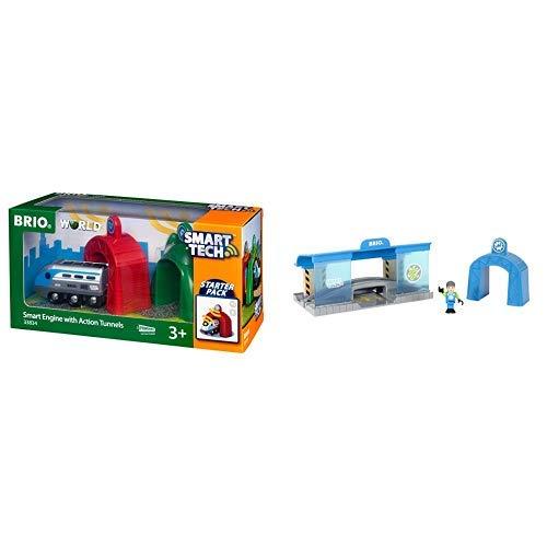 BRIO World 33834 Smart Tech Zug mit Actiontunnels - Elektrische Lokomotive & Sound-Effekten - Interaktives Spielzeug empfohlen & 33918 Smart Tech Eisenbahn-Werkstatt - Lok-Werkstatt & Action-Tunnel (Tech-zug)