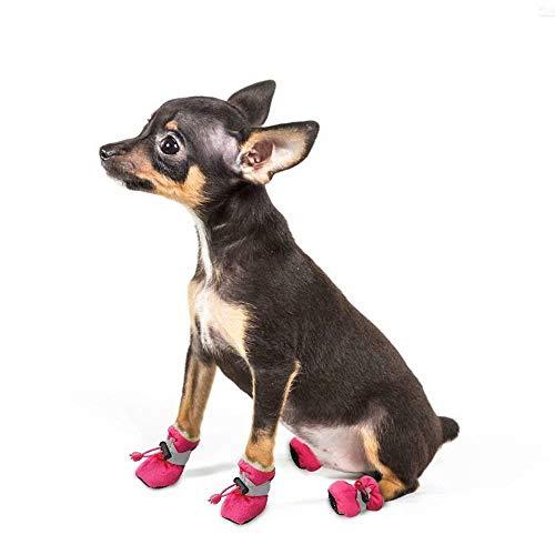 L&Z Hund Schuhe Stiefel Pet Hund Schuhe Warm Paw Displayschutzfolie mit Anti-Skid Weiche Gummisohle Innen für Kleine und Mittelgroße Hunde