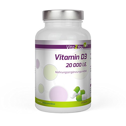 Vitamin D3-20.000 IE - 240 Kapseln - Hochdosiert - 20 Tagesdosis - 1000 I.E. pro Tag - Premium Qualität - Made in Germany