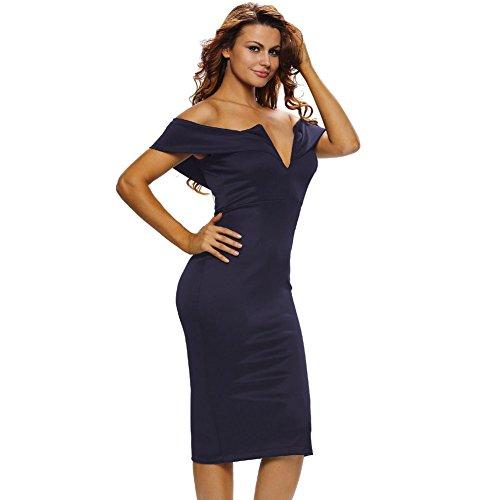 PU&PU Femmes Casual / Sortie / Party Tube manches sans manches V gaine robe, taille haute de l'épaule blue