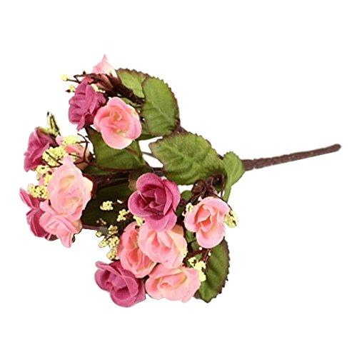 Bodhi2000,bouquet di fiori a 5 rami con 15rose artificiali, bouquet di fiori finti per decorare casa, feste e matrimoni, pink, taglia unica