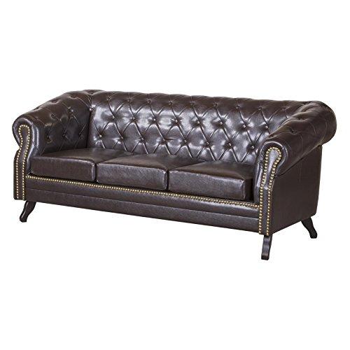 3-Sitzer Chesterfield Sofa Couch Garnitur ENIO, Kunstleder in antikbraun englischer Stil - 2