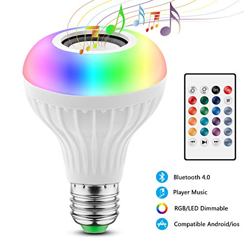 Lampadina Altoparlante, JOLVVN Luce LED Musica 2-In-1 E27 Speaker Notturna Telecomando RGB Audio Mini Stereo Multicolore Bluetooth Compatibile IOS/Android Palcoscenico, Casa, Camera Letto, Festa