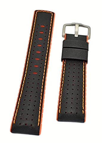 Hirsch ROBBY Sailcloth Effect Performance Rubber Watch Strap and Buckle in BLACK / ORANGE - 22mm
