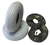 CST Wheelchair Tyre 3.00-4(260x85) Pack of 2Grey + Pack of 2Tyre Tube Angled Valve Tyre Groove Profile Smooth Durable 4PR Spotlight Wheelchair Tyre Mobility Scooter, Wheelchair, OEM quality