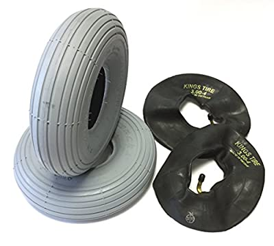 CST Wheelchair Tyre 3.00-4 (260x85) Pack of 2 Grey + Pack of 2 Tyre Tube Angled Valve Tyre Groove Profile Smooth Durable 4 PR Spotlight Wheelchair Tyre Mobility Scooter, Wheelchair, OEM quality