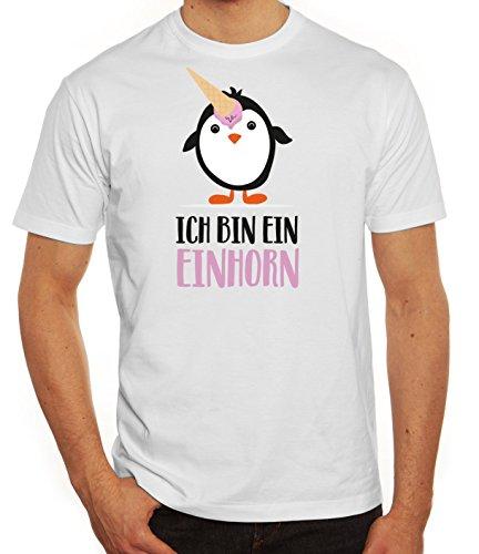Pinguine Tierfreund Unicorn Herren T-Shirt mit Pinguin - Ich bin ein Einhorn Motiv von ShirtStreet Weiß