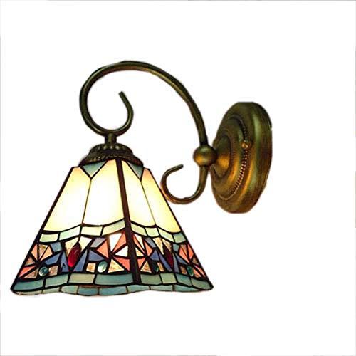 BDHBB Glasmalerei Wandleuchte, Tiffany-Stil Wandleuchte Leuchte, industrielle Vintage Bauernhaus Wandleuchte Beleuchtung Schwanenhals Wandleuchte Single Head Wandleuchten -