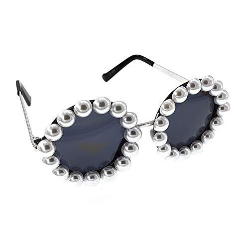 Sonnenbrillen zum Tragen über Brillen Graceful Pearl Baroque Sonnenbrille für Frauen Runde polarisierte Sonnenbrille Fashion Show Style Sonnenbrille Persönlichkeit Strand Sonnenbrille zum Fahren