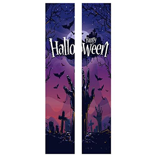 leber Halloween Friedhof Zombie Kreativ Türaufkleber 3D Persönlichkeit Wandaufkleber Korridor Wohnzimmer Hauptdekor,38.5 * 200cm*2PCS ()