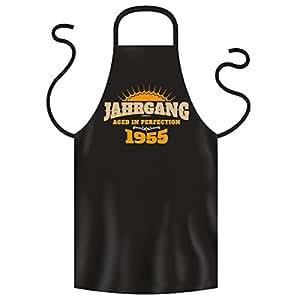 JAHRGANG 1955 - Coole Grill- oder Kochschürze als Geschenk zum Geburtstag. Lustige Geschenkidee. Schwarz