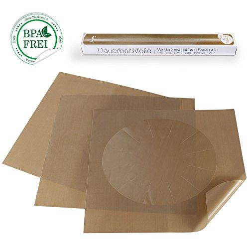 Amazy Dauerbackfolie (4 Stück) – Das Premium Backpapier wiederverwendbar, antihaftbeschichtet und spülmaschinenfest (4er Pack – 3 x rechteckig, 1 x rund)