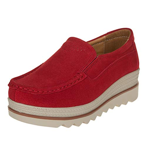 WERVOT Schuhe Damen Fashion Einfarbig Mattes Leder dicken Boden Schuhe Freizeitschuhe