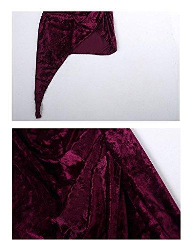 Bestgift Damen unregelmäßige Trägerkleid Ärmelloses Etuikleid Samt Lang Party Kleid Abendkleid Schwarz