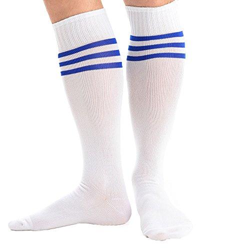 Preisvergleich Produktbild adam & eesa Gestreifte Athletische Fußballsocken Stutzen 1 Paar Sportsocken für Herren Auswahl an 6 Farben Größe 41-46