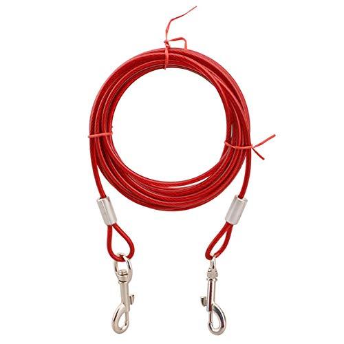 LKXHarleya El Cable para Atar del Perro, La Correa De Alambre De Acero, El Cable Anti Atadura para Mascotas, Adecuado para Todas Las Razas, Rojo, 5 M