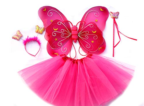 Tante Tina - Schmetterling Kostüm für Mädchen - 4-teiliges Set - Feenflügel / Schmetterlingsflügel Verkleiden - Fuchsia mit Haarreif