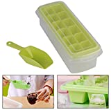 MeRaYo 12 Cubes Plastic Ice Tray for Fridge with Storage Box + Spoon