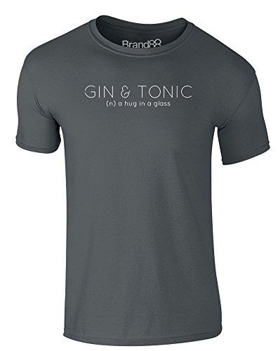 Brand88 - A Hug in a Glass, Erwachsene Gedrucktes T-Shirt Dunkelgrau/Weiß