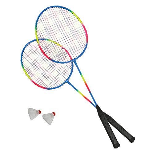 Roomando Badminton-Set Rainbow inkl. 2 Schläger und 2 Bälle Federball Ballspiel Outdoor