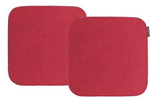 Magma-Heimtex AVARO Stuhlkissen Filzimitat 2-er-Set quadratisch ca. 35x35cm (rot)