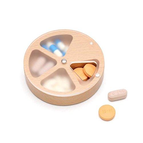 uctop Store Natural takubi Holz Pillendose 4Fächer Groß Medizin Pille Organizer Just Drehen ES können Sie die Pille Sie möchten können auch als Jewelry Box bequem zu tragen können, dass es überall