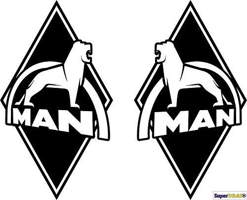 SUPERSTICKI Man Logo Auto Aufkleber ca 15cm 2Stück Aufkleber Sticker Decal aus Hochleistungsfolie Aufkleber Autoaufkleber Tuningaufkleber Racingaufkleber Rennaufkleber Hochleistungsfolie f
