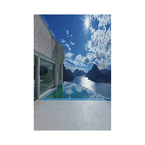 Liumiang Eco-Friendly Manual Custom Garden Flag Demonstration Flag Game Flag,Modern Decor,Mountains Landscape View from House with Infinity Pool Architecture Clouds,Blue Coconute d¨¦COR