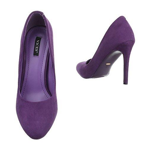 Damen Pumps Schuhe High Heels Stöckelschuhe Stiletto Violett Blau 35 36 37 38 39 40 Lila