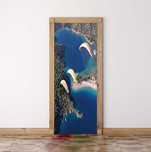Anpassbare Größe Tür Aufkleber Fallschirm Tapete Tür Aufkleber Dekorative Selbstklebende Wasserdichte Pvc Wandaufkleber Aufkleber Tür Aufkleber 77 * 200Cm