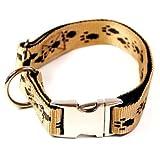 Hundehalsband, Alu-Max®, Soft Nylon, Beige, Braune Pfötchen, 30-50cm, 20mm, mit Zugentlastung