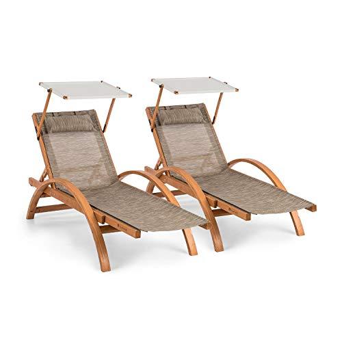 Blumfeldt panamera lettino da giardino - lettino da sole, set da 2, tetto apribile regolabile, materasso in comfortmesh, cuscino, struttura in legno di pino finlandese, impermeabile, crema