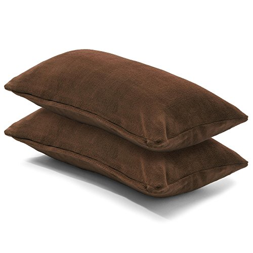 CelinaTex 2er Set Kissenbezug 40x80 cm Doppelpack Coral Fleece Kissenhülle, Kopfkissenbezug Kissen Überzug Comfortable dunkel braun 5001334