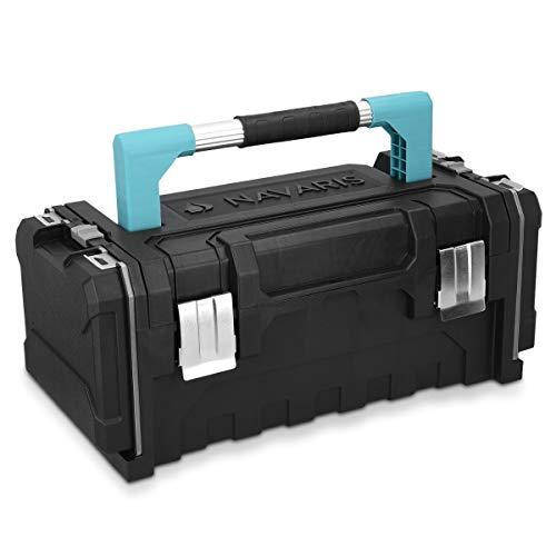 """Navaris Werkzeugkoffer 20\"""" Box leer - 51 x 23 x 21cm - 2 abnehmbare Organizer Boxen Alu Griff Stahlschließen - Werkzeugkasten Koffer ohne Werkzeug"""