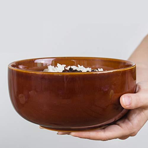 Retro Kostüm Bowling - Unbekannt Kreative Retro Japanische Küche Keramik Geschirr Ramen Bowl Große Suppenschüssel Hause Große Schüssel Reisschüssel Salatschüssel (Color : Brown)