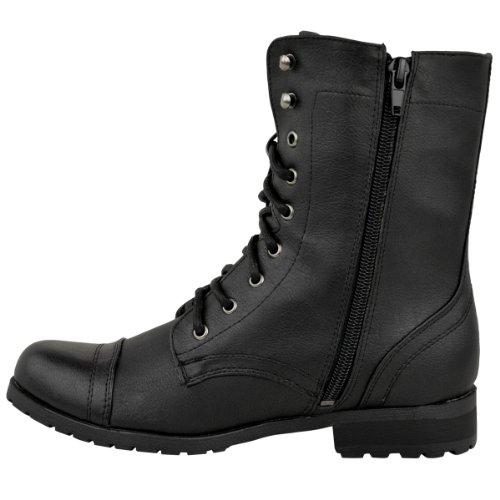Femme Lacet Militaire Bottine Simili-cuir Noir