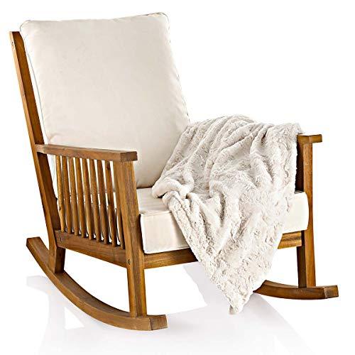 Empfehlung: Schaukelstuhl – Holz Outdoor Schaukelsessel mit Kissen  von Pureday*