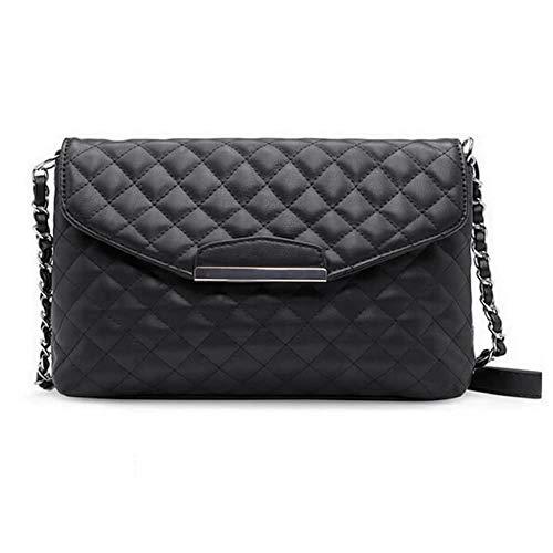 Ogquaton Premium-Qualität Vintage Frauen Gesteppte Umhängetasche PU-Leder Klappe vorne Crossbody Umschlag Tasche Clutch Weiß/Schwarz