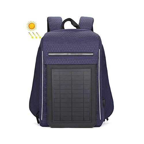 GWP Solar Powered Rucksack, wasserdichte Rucksack-Aktentasche Inklusive Robuste und Flexible Sonnenkollektor, Powerbank, Laptop-Fach, Geschäftsleben, Reisen,Blau