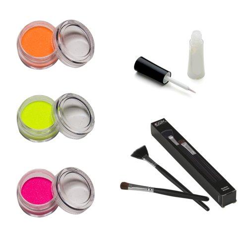 Skinjee Tatouage - Kit Ladot Paillettes Corporelle Fluo UV avec Colle et Pinceaux Applicateurs