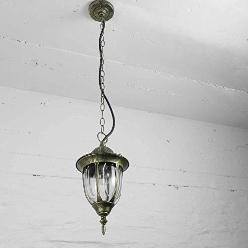 Rustikale Hängeleuchte Außenleuchte Antik Gold Glas Aludruckguss mit Kettenpendel E27 230V Pendelleuchte Hängelampe Decke Hof Garten Beleuchtung
