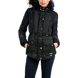Desigual Abrig_Oh LA LA Manteau, Noir (Negro), FR (Taille Fabricant: 36) Femme