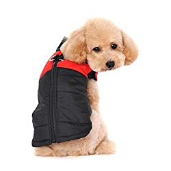 Ericoy Waterproof Dog Coat Jacket Warm Padded Puffer Pet Dog Puppy Clothes Vest (Red,S)
