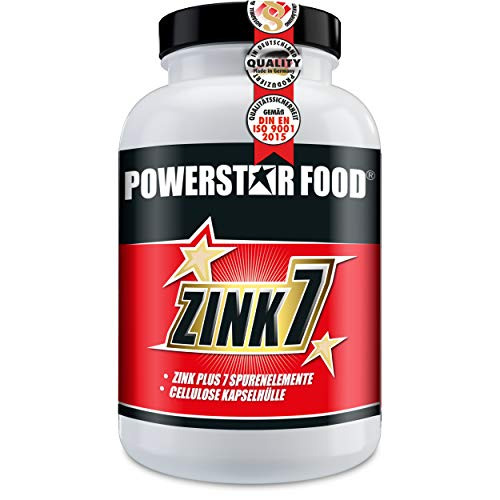 ZINK 7 - HOCHDOSIERT - Zink + 7 Spurenelemente - Testosteronmanagement - Haut & Haare - Immunsystem - Protein-Synthese - VEGAN - 120 Cellulose Kapseln à 25mg Zinc - MADE IN GERMANY - Chelat-mangan Tabletten