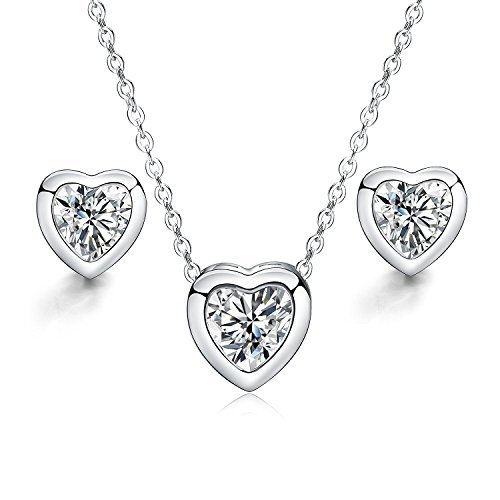 Jewelry Set – Heart Love Necklace Pendant and Stud Earrings for Women Mom Teen Girl - Fashion Prime Gift 925 Sterling Silver Plated