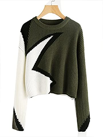 ROMWE Sweater Pull femme Pattern manches