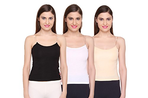 Camisole for Women - Cotton Slips for Girls - Black/White/Skin Colour -...